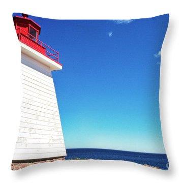 Neils Harbour Lightstation, Cape Breton Island, Nova Scotia,  Throw Pillow