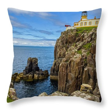 Neist Point Lighthouse Throw Pillow