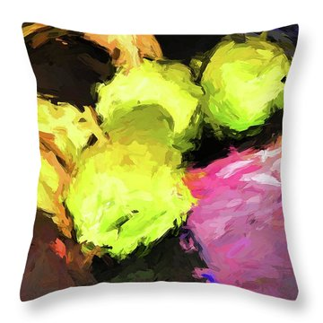 Neon Apples With Bananas Throw Pillow