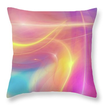 Neon Light  Cosmic Rays Throw Pillow