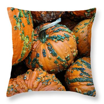 Throw Pillow featuring the photograph Nestled - Autumn Pumpkins by Debi Dalio