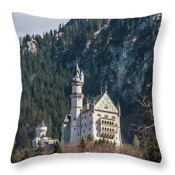 Neuschwanstein Castle On The Hill 2 Throw Pillow