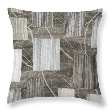 Neutral Leaf Print Squares Cream Throw Pillow