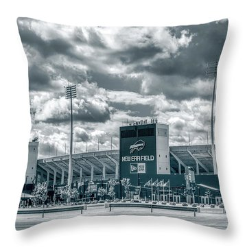 Throw Pillow featuring the photograph New Era Stadium by Guy Whiteley