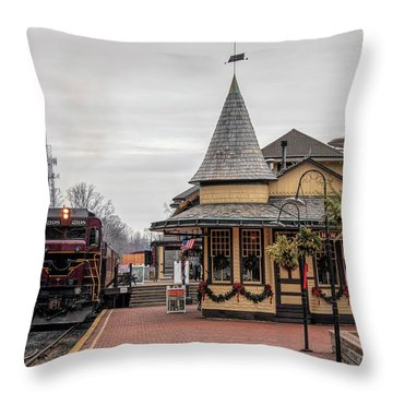 Throw Pillow featuring the photograph New Hope Train Station At Christmas by Kristia Adams