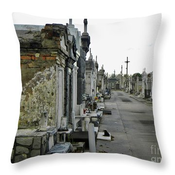 Throw Pillow featuring the photograph New Orleans Cemetery by Rosanne Licciardi