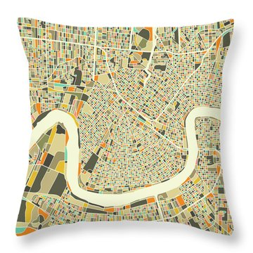 New Orleans Map 1 Throw Pillow
