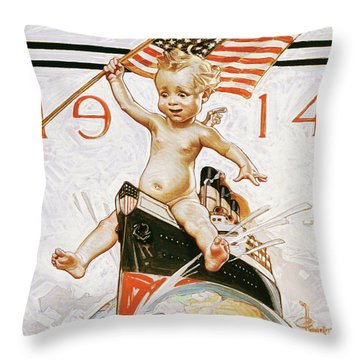 New Year Baby 1914 - Digital Remastered Edition Throw Pillow