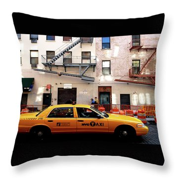 Throw Pillow featuring the photograph New York, Cab by Edward Lee