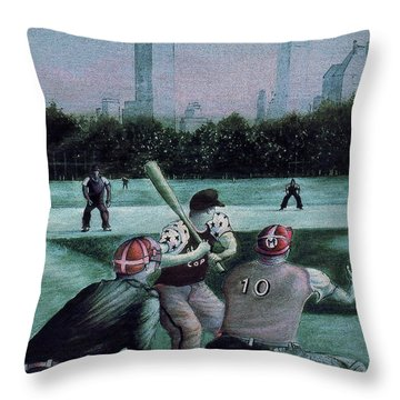 New York Central Park Baseball - Watercolor Art Painting Throw Pillow