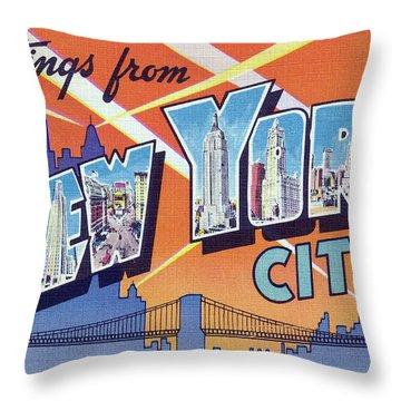 New York City Greetings - Version 2 Throw Pillow