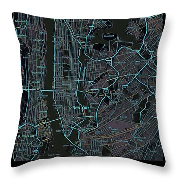 New York City Map Black Edition Throw Pillow