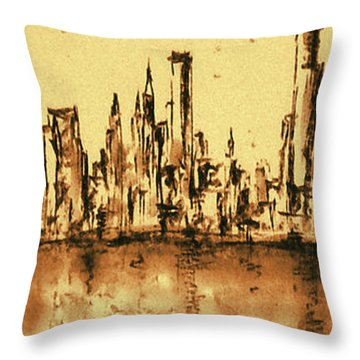 New York City Skyline 79 - Water Color Drawing Throw Pillow