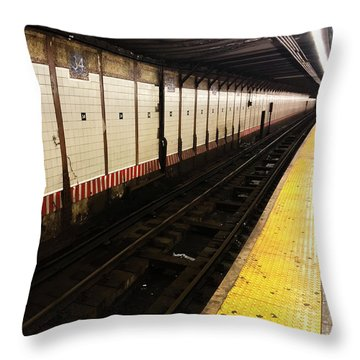 Throw Pillow featuring the photograph New York City Subway Line by Shane Kelly