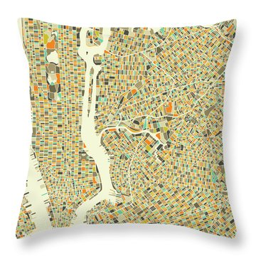 New York Map 1 Throw Pillow