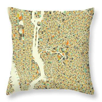 New York Map 1 Throw Pillow