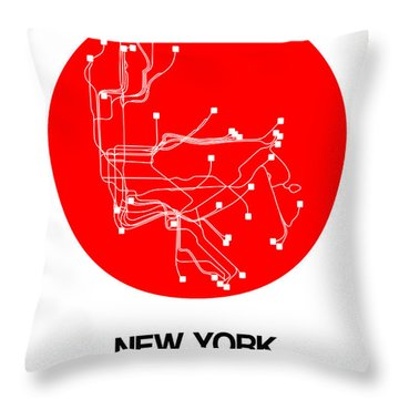 New York Red Subway Map Throw Pillow