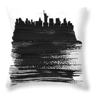 New York Skyline Brush Stroke Black Throw Pillow