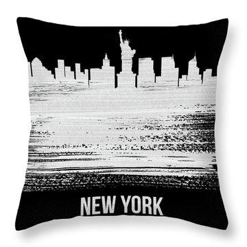 New York Skyline Brush Stroke White Throw Pillow