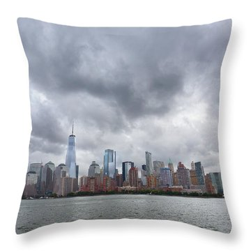 New York Stormy Skyline Throw Pillow