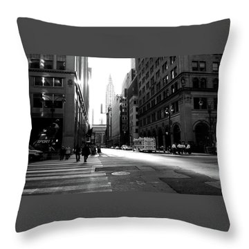 Throw Pillow featuring the photograph New York, Street by Edward Lee