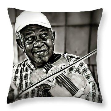New York Street Fiddler Throw Pillow