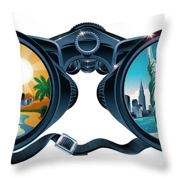 New York To Florida Vacation Throw Pillow