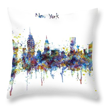 New York Watercolor Skyline Throw Pillow