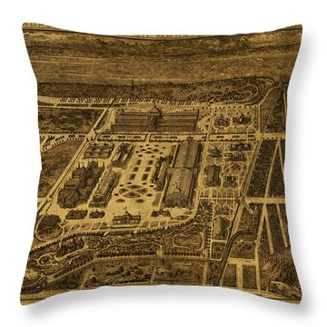 New York Worlds Fair Map 1894 Throw Pillow