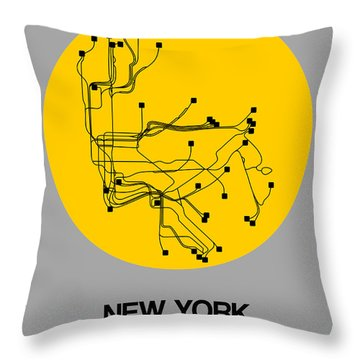 New York Yellow Subway Map Throw Pillow