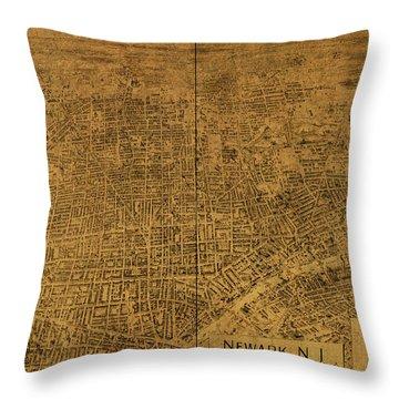 Newark New Jersey Vintage City Street Map 1895 Throw Pillow