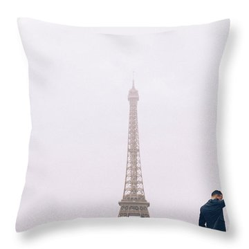 Newly-wed Couple On Their Honeymoon In Paris, Loving Having A Date Near The Eiffel Tower Throw Pillow