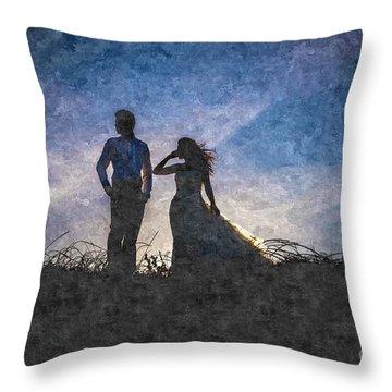 Newlywed Couple After Their Wedding At Sunset, Digital Art Oil P Throw Pillow