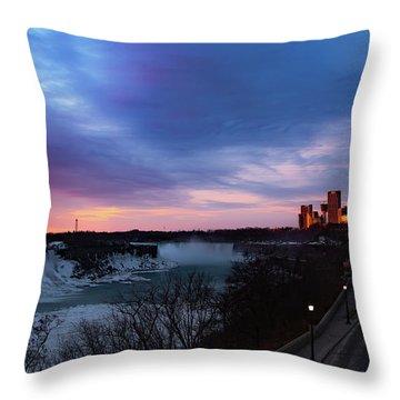 Niagara Falls At Sunrise Throw Pillow