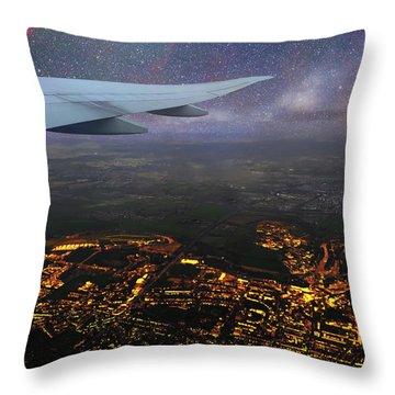 Night Flight Over City Lights Throw Pillow