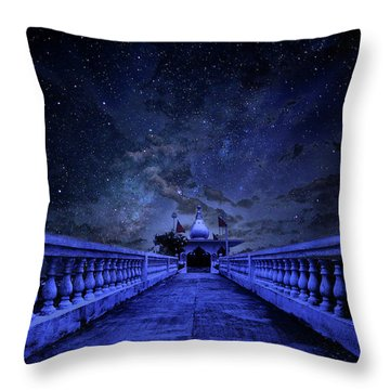 Night Sky Over The Temple Throw Pillow