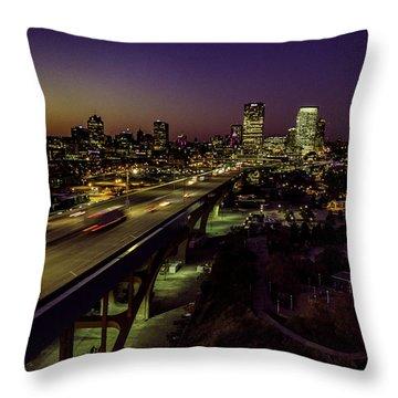 Throw Pillow featuring the photograph Nightfall In Milwaukee by Randy Scherkenbach