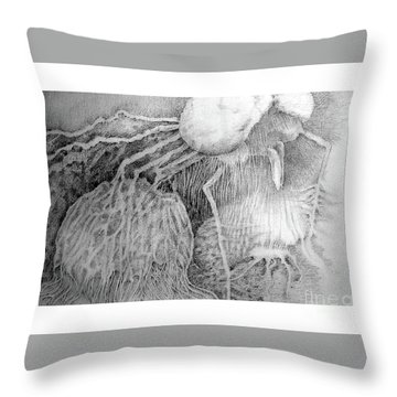 Throw Pillow featuring the drawing Nightmare by Rosanne Licciardi