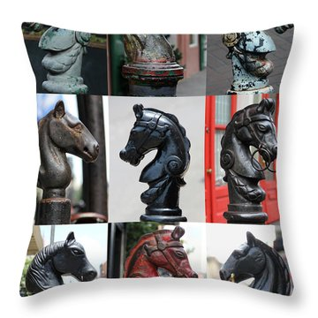 Nine Horse Head Hitching Posts Throw Pillow