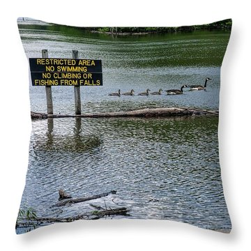 No Swimming Throw Pillow