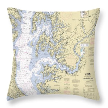Chesapeake Bay, Cove Point To Sandy Point Nautical Chart Throw Pillow