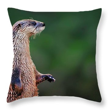 Norman The Otter Throw Pillow