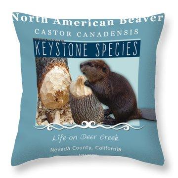 North American Beaver Throw Pillow