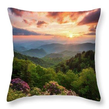 North Carolina Great Smoky Mountains Sunset Landscape Cherokee Nc Throw Pillow