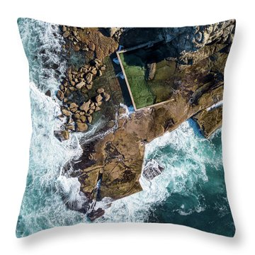 Throw Pillow featuring the pyrography North Curl Curl Pool by Chris Cousins