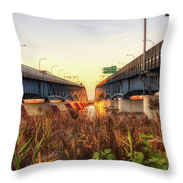 North Grand Island Bridges Throw Pillow