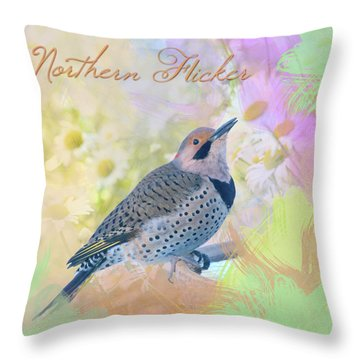 Northern Flicker Watercolor With Daisies Throw Pillow