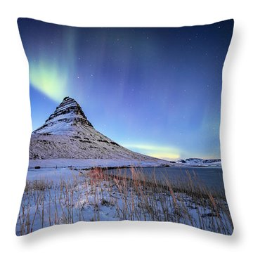Throw Pillow featuring the photograph Northern Lights Atop Kirkjufell Iceland by Nathan Bush