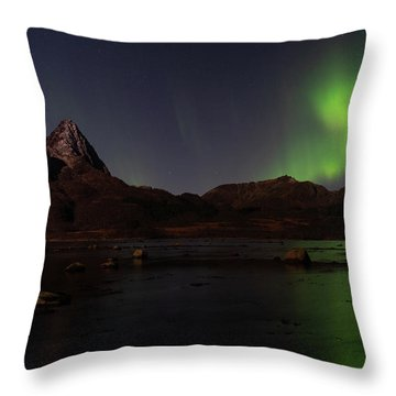 Northern Lights Aurora Borealis In Norway Throw Pillow