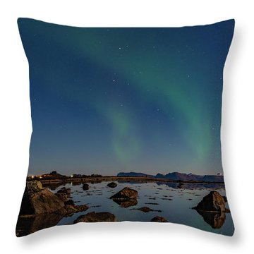 Northern Lights Over A Swamp  Throw Pillow